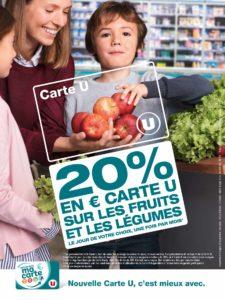Carte U : 20% sur les fruits et légumes une fois par mois