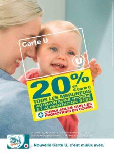 Carte U : 20% les mercredis rayon bébé